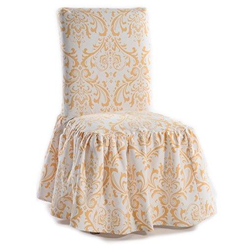 Classic Slipcovers Damask Print Ruffled Dining Chair Slipcovers (Set of 2) - Ruffled Chair Slipcover Dining