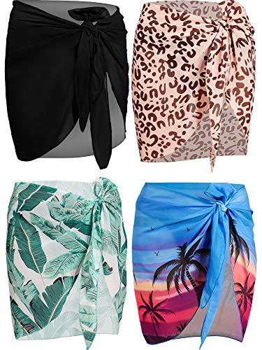 4 Pieces Women Chiffon Short Sarongs Cover Ups Beach Swimsuit Wrap Skirt, 4 Colors (Black, Green Plantain Leaf, Blue Coconut Palm, Pattern-Leopard)