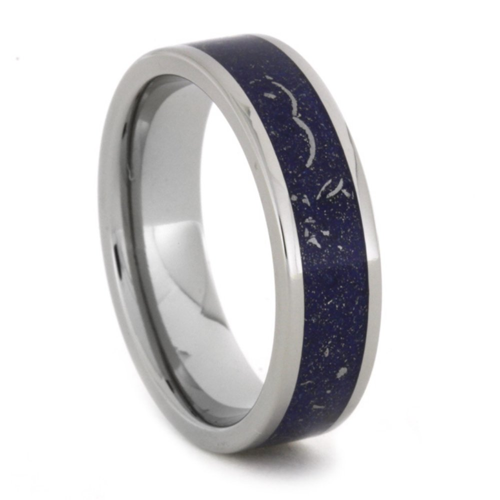 Blue Stardust, 14k White Gold, Meteorite Shavings 6mm Comfort-Fit Titanium Band, Size 14.75