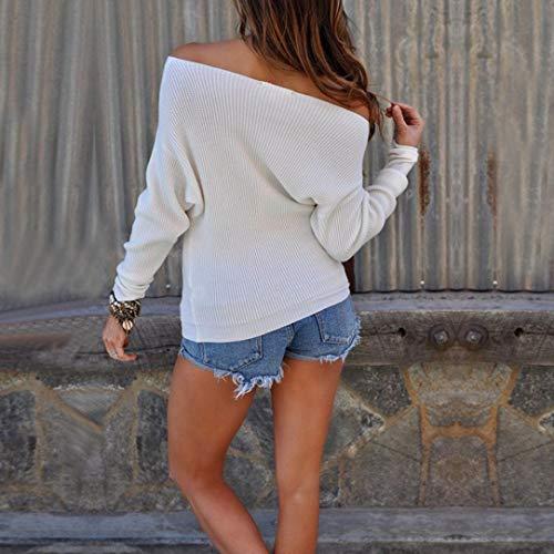 Shirts Chic Option Blanc Col Couleurs T Shirt Bateau Pullover Solike Tops Manches Chemise en Bretelle Tricot Blouse Sweatshirt sans Longues Pull Femme 5 BqafP