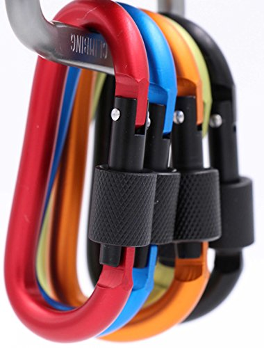 LeBeila Carabiner Aluminum Screw Locking Spring Clip Hook Outdoor D Shaped Keychain Buckle for Camping, Hiking, Fishing (Multi-Color Set1)