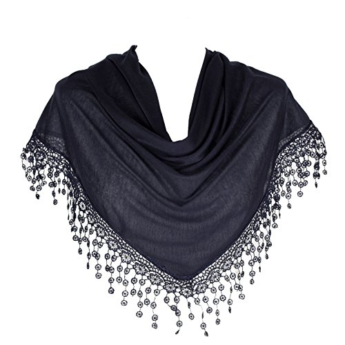 HatToSocks Triangle Scarf with Bobbin Lace Fringes for Women in Plain Colors Scarf Dark Chocolate