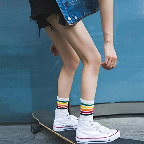 Sothread Womens 5 Bar Color Stripe Socks Cotton Casual Funky Sports All-Match Socks (White)