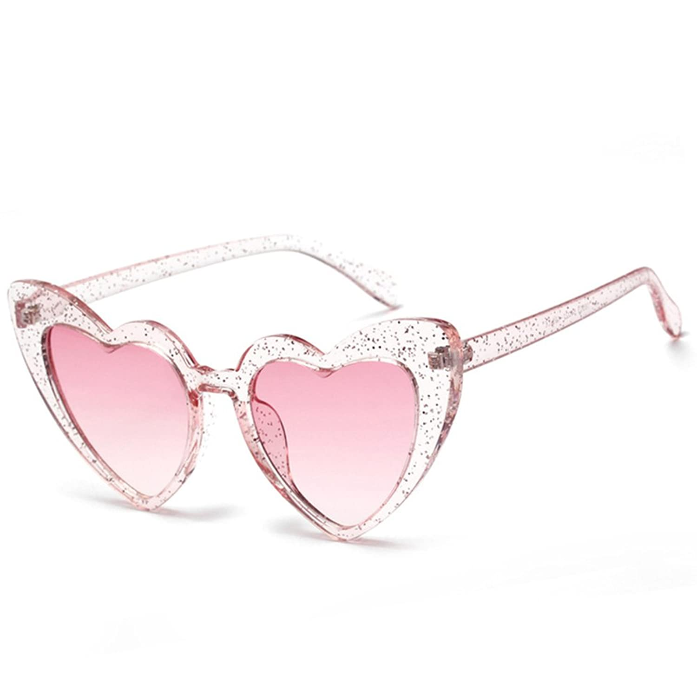 Love Heart Shaped Sunglasses Women Vintage Cat Eye Mod Style Retro Glasses by Bigfacee