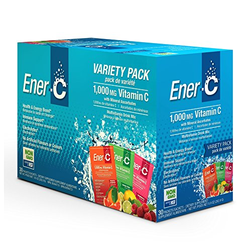 Ener-C Effervescent Multivitamin Non-GMO Gluten-Free Vegan Powdered Fruit Juice Drink Mix for Immune Support and Hydration with Electrolytes (Tangerine Grapefruit, Lemon Lime, Raspberry) 30 (Effervescent Drink Mix)