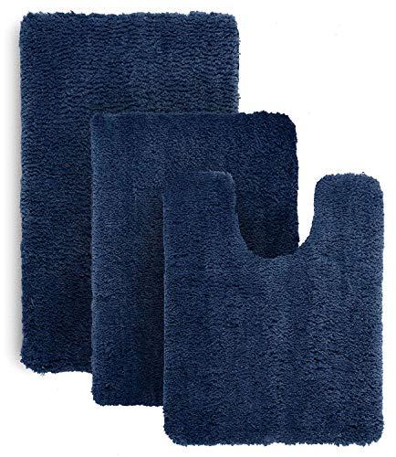 Luxe Rug Royal Blue Plush Bathroom Rugs Set Bath Shower Mat w Non Slip Microfiber Super Absorbent Rug Alfombras para Baños (3, Dark Blue) ()