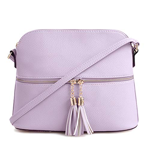 SG SUGU Lightweight Medium Dome Crossbody Bag with Tassel | Zipper Pocket | Adjustable Strap - Bag Handbag Women Girls