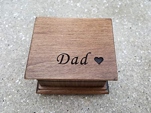 Music box with Dad and a heart engraved on top, personalized message on the bottom side available