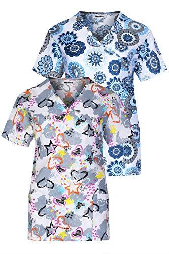 MedPro Women's Printed Mock Wrap Medical Scrub Top Multi Pack ASTD:Grey,Navy XS