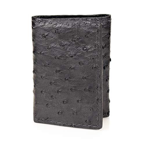 (Genuine Ostrich Skin Trifold 9 Card Leather Wallet (Black))
