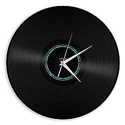 VinylShopUS Recycled Record Vinyl Wall Clock Neon Look