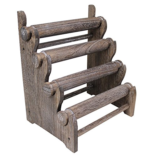 Ikee Design Antique Coffee Color Wooden 4 Tier Bar Bracelet / Bangle Jewelry Holder Stand Display Organizer