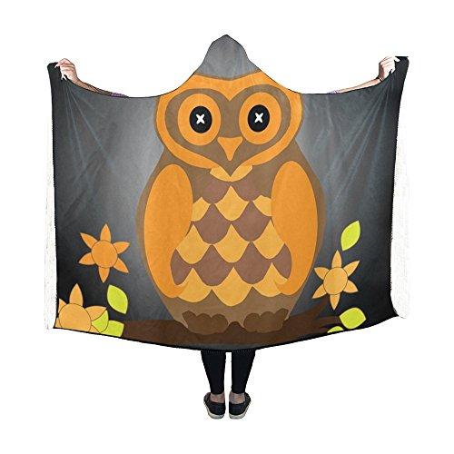 Jnseff Hooded Blanket Owl Bird Halloween Animal Orange Black Art Blanket 60x50 Inch Comfotable Hooded Throw Wrap ()
