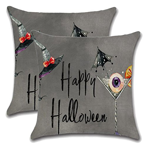 YIDUN Cotton Linen Pillow Cover Decorative Drink Grey 18x18 Inches 2 (Blue Black White Gold Halloween)