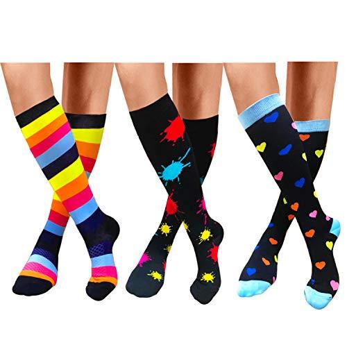 Compression Socks For Women Men 20-25mmHg-Best Medical, Nursing, Travel & Flight Socks - Running & Fitness Compression Stockings (L/XL, Colourful)