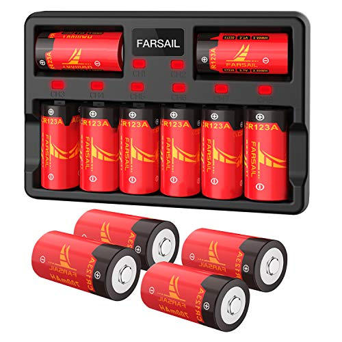 RCR123A Rechargeable Battery for Arlo Cameras, CR123A Lithium Batteries Rechargeable, Arlo Battery Rechargeable and Charger, FARSAIL 12-Pack 3.7V CR123A Arlo Batteries with Charger