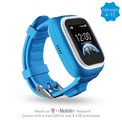 NEW VERSION TickTalk 1.0S Touch Screen Kids Wearable tracker wrist Phone w/ GPS locator, Controlled by Apple and Android phone APP Including FREE Sim Card and Preloaded with $5 (blue)