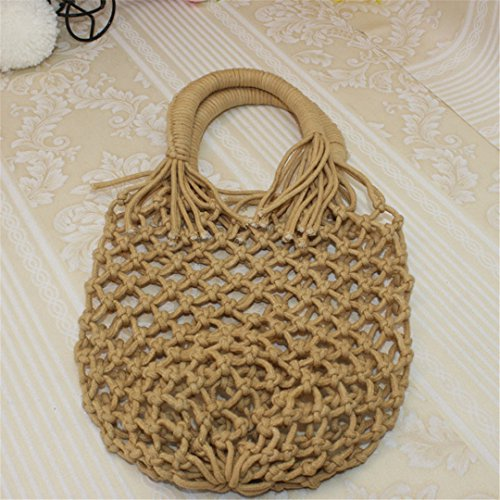 Manualbages Weave Handbag Lady Tote Bag Net Point Ss3203 Brown Brown Women Summer Beach Straw Bags Female Hollow Occasional Travel