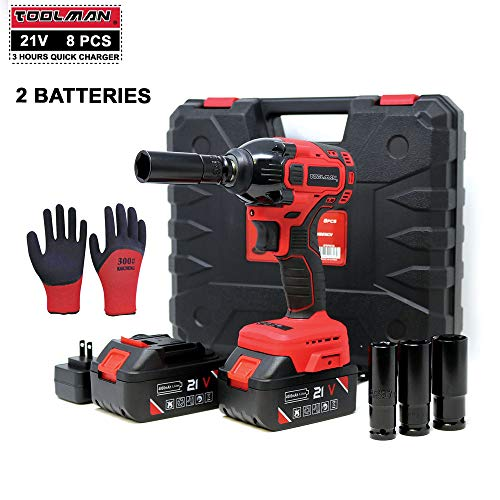 Lion Tools ZTP010 Toolman Lithium-ion 2 Batteries cordless Impact Wrench kit 1 2 21V with Drill Set 8 pcs 2 BATTERIES for Heavy Duty works with DeWalt Makita Ryobi Accessories