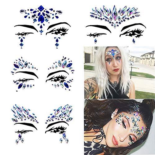 4 Pcs Mermaid Face Gems Tattoo Glitter Sticker For Women Rhinestone Eyes Face Body Biodegradable Glitter Face Jewels Decorations Fit Rave Festival