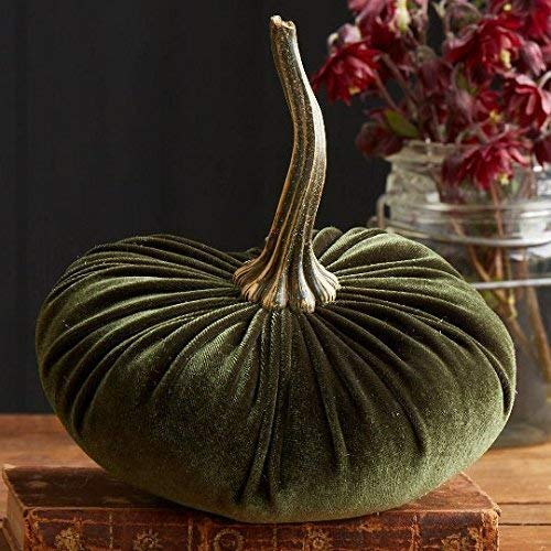 Large Velvet Pumpkin Olive, Handmade Home Decor, Wedding, Holiday Mantle Decor, Centerpiece, Fall, Halloween, Thanksgiving