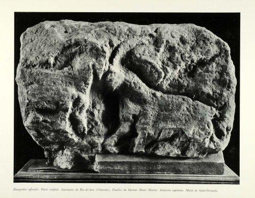 1953 Print Ibex Sculpture Carving Animal Wildlife Henri Martin Excavation Statue - Original Halftone (Sculpture Wild Animal Statue)