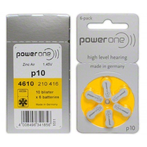 Power One Zinc Air Hearing Aid Batteries  Yellow  Size 10 Pack Of 60