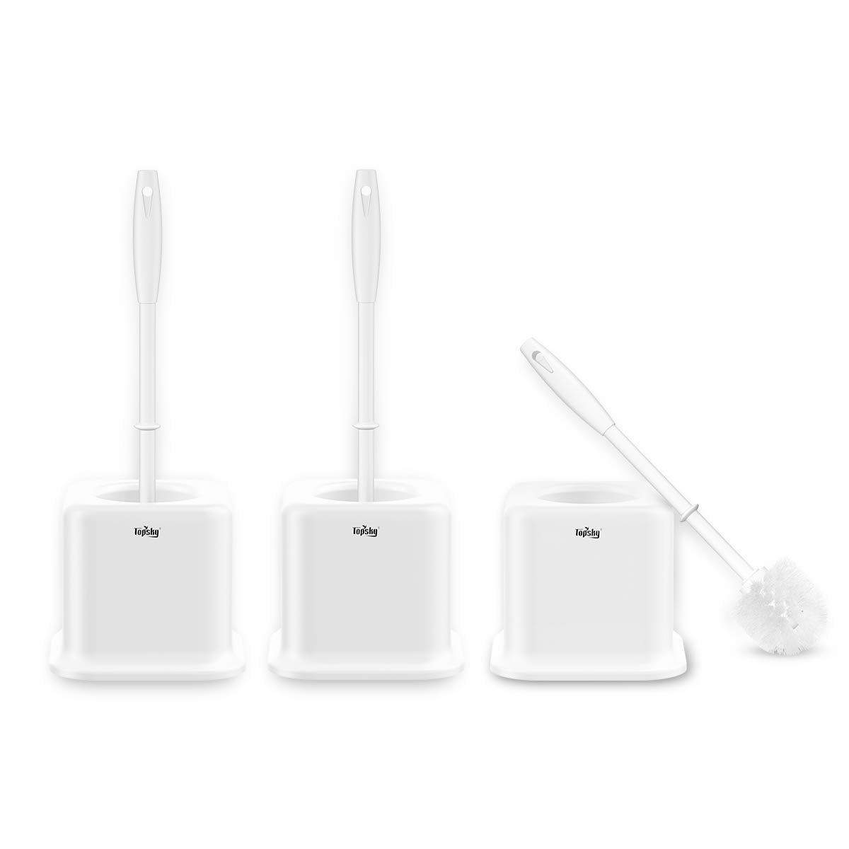TOPSKY Toilet Brush with Holder, White, Pack of 3 Set