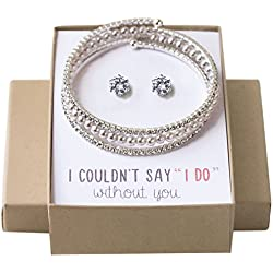 AMY O Wedding Jewelry Set, Pearl Bracelet and Earring Set Gift for Bridesmaids Bridal Party