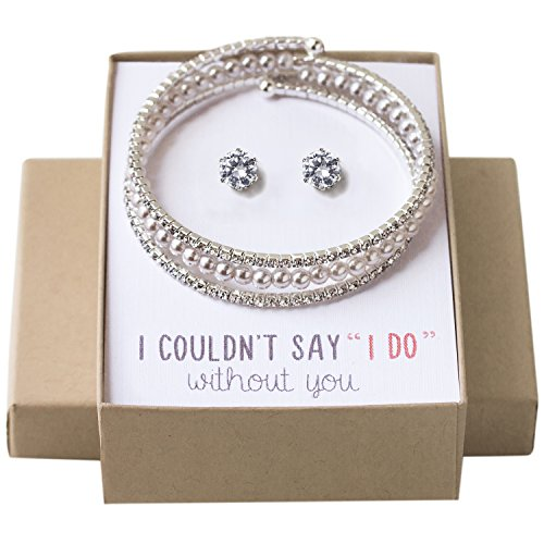 Wedding Jewelry set, Pearl Bracelet and Earring set gift for Bridesmaids Bridal Party