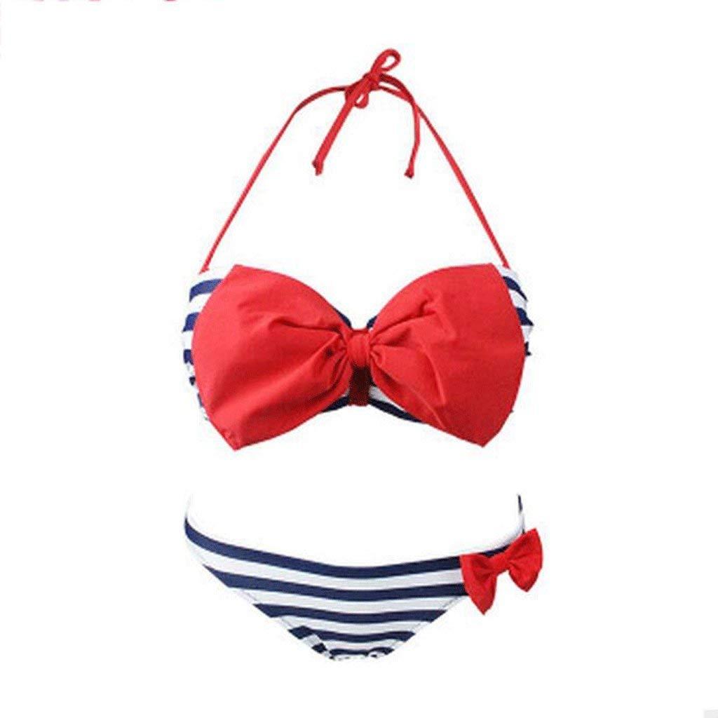 bluee Jianheads Swimsuit Bikini Bow Tie Small Chest Gather Striped Beach Spa Swimwear
