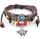 Grenf Fashion Retro Handmade Leather Beaded Bangle Bracelet Rivet Butterfly Beaded Bracelet Pendant (Wooden Bead Butterfly)