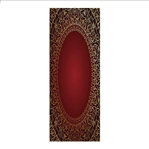 Decorative Privacy Window Film/Vintage Frame with Gold Colored Eastern Motifs Traditional Retro Classic Artwork/No-Glue Self Static Cling for Home Bedroom Bathroom Kitchen Office Decor Maroon Gold ()
