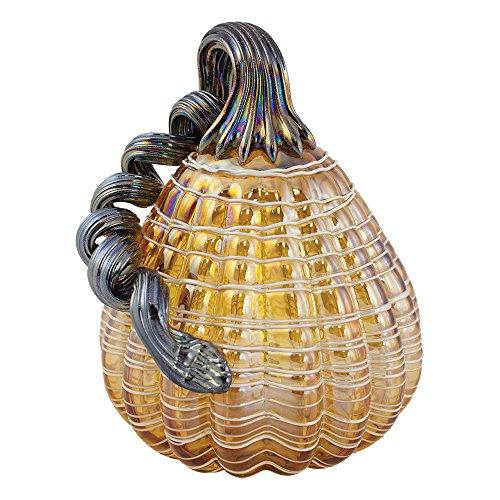 Global Village Glass Amber Lattice Pumpkin - Glass Lattice