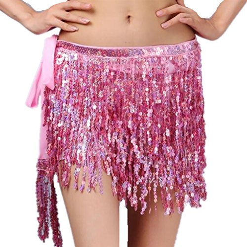 Luxurious Super Glittering Sequins Fringe Belly Dance Waist Chain Jazz Skirt Best Mother's Day Gift(Pink) (Crocheted New Hanging)