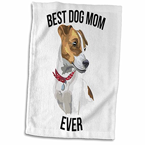 3dRose Carsten Reisinger - Illustrations - Best Jack Russell Terrier Dog Mom Ever - 15x22 Hand Towel (twl_273516_1) - Russell Golf Towel