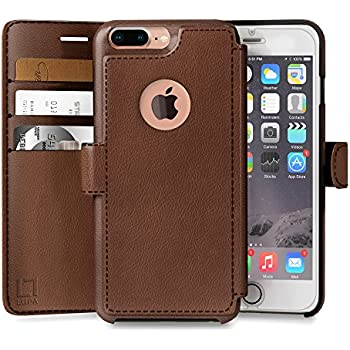LUPA Wallet case for iPhone 8 Plus, Durable and Slim, Lightweight, Magnetic Closure, Faux Leather, Light Brown