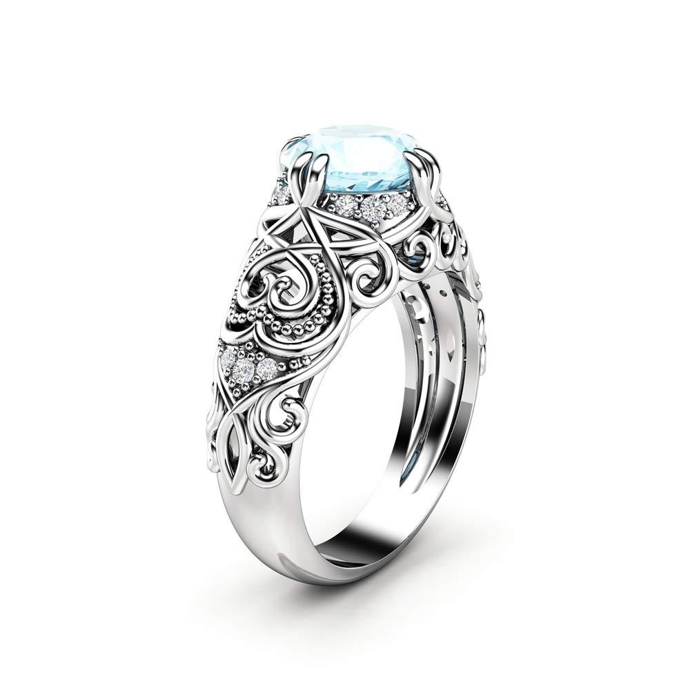 Amazon.com: Aquamarine Engagement Ring 14K White Gold Ring Vintage  Engagement Ring: Handmade