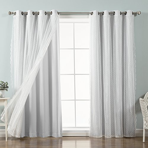 Best Home Fashion Mix & Match Dotted Tulle Lace & Solid Blackout Curtain Set – Antique Bronze Grommet Top – Vapor – 52