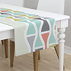 Table Runner - Timeless Clock Hourglas Multicolored Mod Retro MCM Mid Century Style Modern Fun by Friztin - Cotton Sateen Table Runner 16 x 90