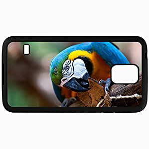 Fashion Unique Design Protective Cellphone Back Cover Case For Samsung GalaxyS5 Case Parrot Bird Macaw Blue Beak Black