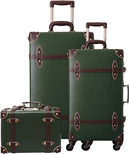 urecity Womens Cute Pink Vintage Trolley Luggage Set, Trunk Suitcase for Girls, 3-Piece Set Army Green 26 20 12