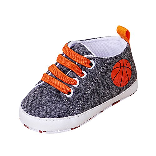 New in Respctful✿ Baby Boys Girls Canvas Shoes Soft Sole Non Slip Walking Shoes First Walking Toddler Dress Crib Shoes Dark Gray