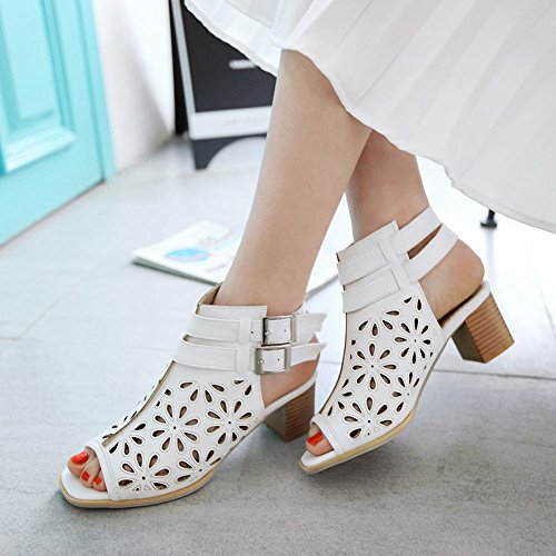 Charm Fot Womens Fashion Sommaren Chunky Klack Peep Toe Sandal Vit