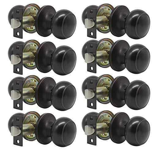 8 Pack Probrico Interior Passage Keyless Door Knobs Door Lock Handle Handleset Lockset Without Key Doorknobs Oil Rubbed Bronze for Hall/Closet-Door Knob 609