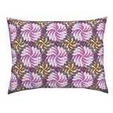 Roostery African Ethnic Wax Print Purple Africa Dots Standard Knife Edge Pillow Sham Twist (Rhino Horns) African by Ottomanbrim 100% Cotton Sateen