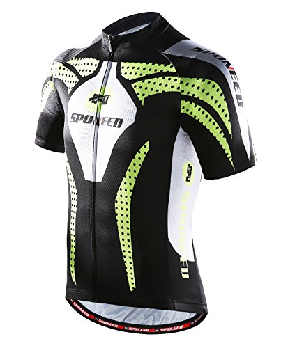 sponeed Men's Bicycle Jersey Polyester and Lycra Shirt Cycling Top Size Asian XL/US L Green