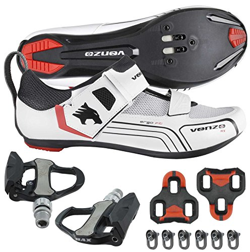 (Venzo Cycling Bicycle Bike Triathlon Shoes with Pedals for Shimano SPD SL Look White 48)