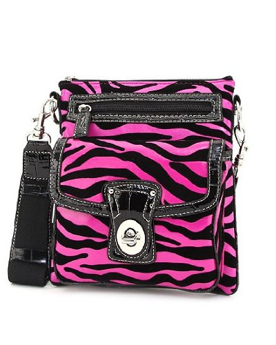 Zebra Pattern Faux Leather & Velvet Small Twist Lock Hipster Handbag (Pink) (Wholesale Coach Inspired Handbags)