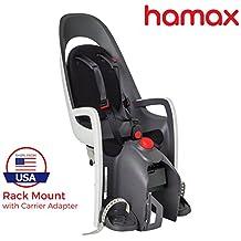 Hamax Caress Child Bike Seat, Ultra-Shock Absorbing Frame or Rack Rear Mount, Adjustable to Fit Kids (Baby Through Toddler) 9 mo - 48.5 lb. 35-Year Award Winning European Brand.